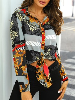 Casual Single-Breasted Geometric Print Women's Blouse