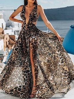 Sexy Leopard Split V-Neck Sleeveless Floor-Length Women's Dress
