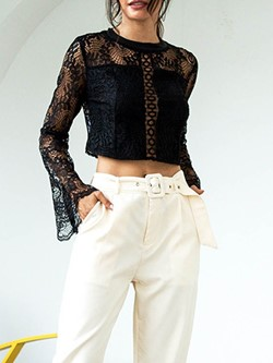 Sexy Lace See-Though Hollow Flare Sleeve Women's Blouse