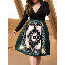 Casual Plus Size V-Neck Geometric Print Patchwork Mid-Calf Women's Dress