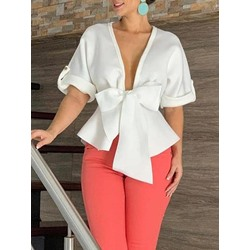 Elegant White Bownot V-Neck Half Sleeve Women's Blouse