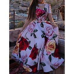 Elegant Floral Print Hollow Floor-Length Short Sleeve Women's Dress