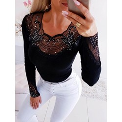 Black Mesh Round Neck Long Sleeve Slim Women's T-Shirt