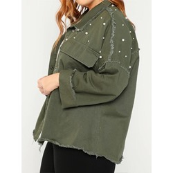 Plus Size Green Bead Long Sleeve Loose Single-Breasted Women's Jacket