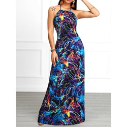 Stylish Blue Halter Floor-Length Backless Sleeveless Color Block Women's Dress