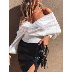 Sexy White V-Neck Lantern Sleeve Slim Women's Sweater