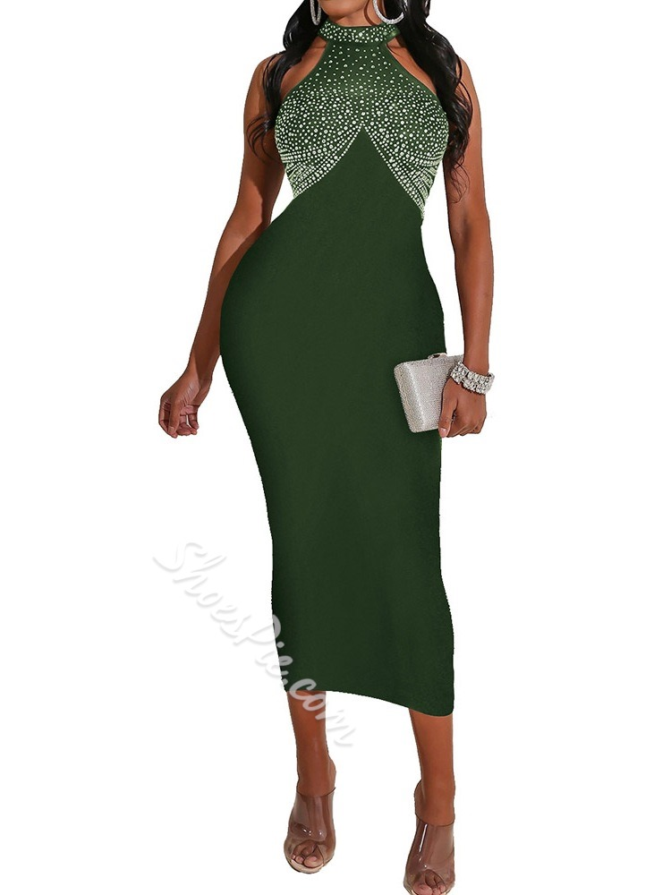 Green Sexy Bodycon Sleeveless Rhinestone Halter Women's Dress