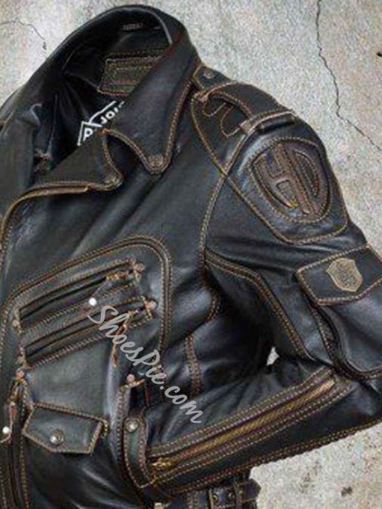 Lapel Standard Pocket Casual Leather Jacket