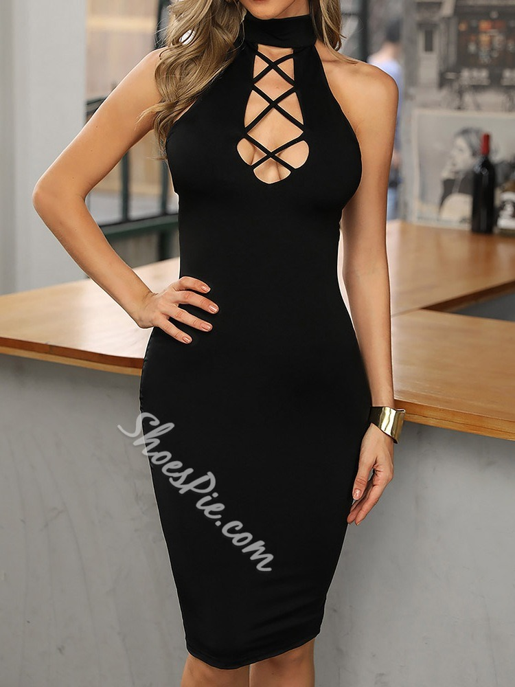 Sexy Lace-Up Hollow Stand Collar Backless Sleeveless Pencil Women's Dress
