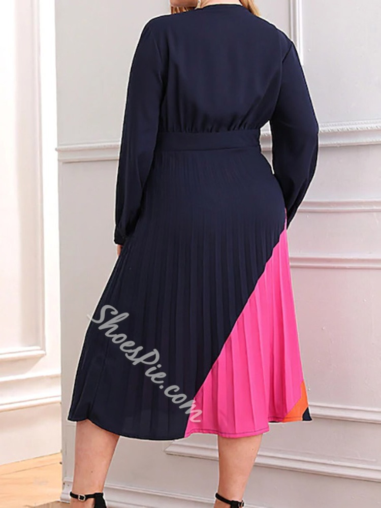 Plus Size Casual V-Neck Patchwork Long Sleeve Pleated Women's Dress