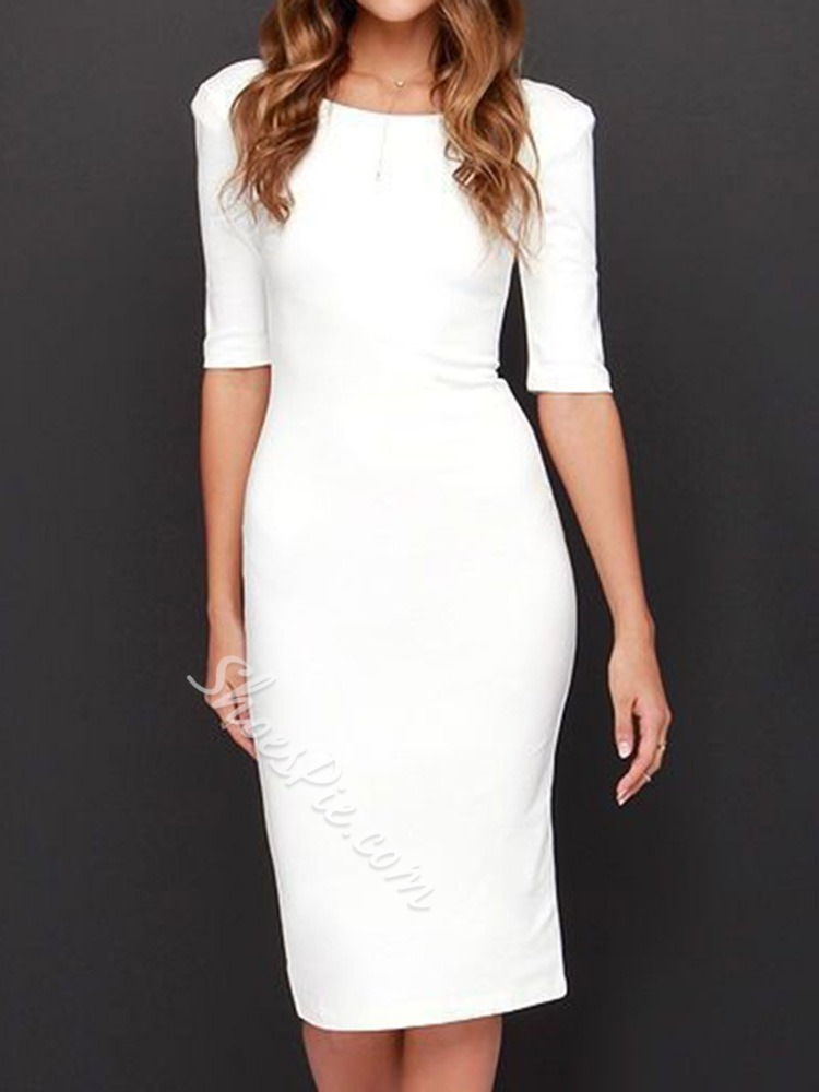 Backless Mid-Calf Half Sleeve Bodycon Women's Dress