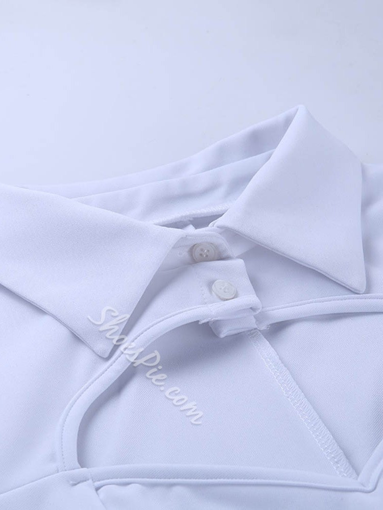 Sweet White Hollow Shirt Collar Long Sleeve Women's Blouse
