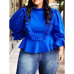 Sweet Plus Size Stand Collar Flare Sleeve Falbala Women's T-Shirt