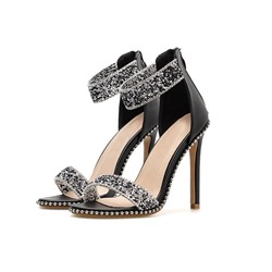 Shoespie Trendy Heel Covering Zipper Open Toe Rhinestone Sandals