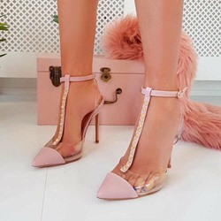 Shoespie Trendy Rivet T-Shaped Buckle Pointed Toe Thread Sandals