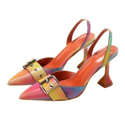 Shoespie Trendy Slip-On Stiletto Heel Pointed Toe Thread Sandals