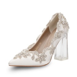 Shoespie Stylish Pointed Toe Rhinestone Chunky Heel Bridal Shoes