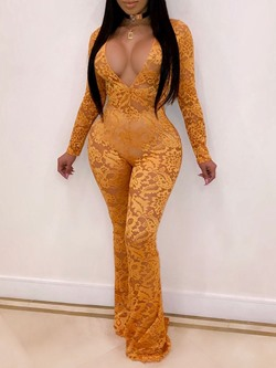 Sexy Yellow Lace V-Neck Long Sleeve Bellbottoms Skinny Women's Jumpsuit