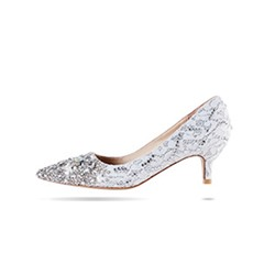 Shoespie Rhinestone Slip-On Pointed Toe Low Heel Bridal Shoes