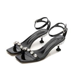 Shoespie Trendy Line-Style Buckle Stiletto Heel Square Toe Rhinestone Sandals