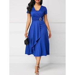 Elegant Mid-Calf Pleated Short Sleeve V-Neck Women's Dress
