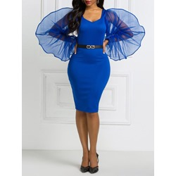 Blue Mesh Long Sleeve Patchwork Knee-Length V-Neck Women's Dress