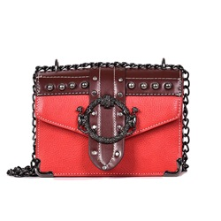Shoespie PU Thread Flap Crossbody Bags