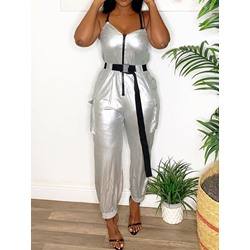 Stylish Spaghetti Strap Silver Zipper Full Length Loose Women's Jumpsuit