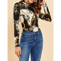 Stylish Geometric Print Long Sleeve Stand Collar Women's Blouse