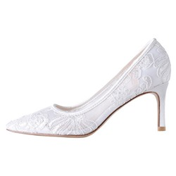 Shoespie Stylish Lace Stiletto Heel Pointed Toe High Heel (5-8cm) Thin Shoes