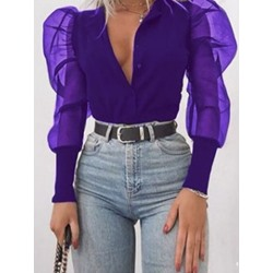Mesh Puff Sleeve Sweet Single-Breasted Women's Blouse