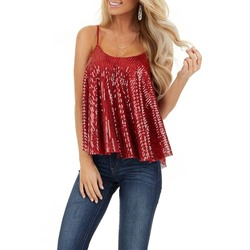 Casual Spaghetti Strap Sequins Pleated Summer Women's Tank Top