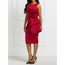 Burgundy Party Pleated Round Neck Sleeveless Bodycon Women's Dress