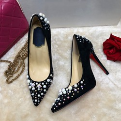 Shoespie Sexy Black Slip-On Pearl Stiletto Heels