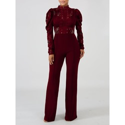 Sexy Lace Puff sleeve See-Though Patchwork Full Length Women's Jumpsuit