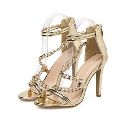 Shoespie Trendy Back Zipper Stiletto Heel Open Toe Thread Sandals