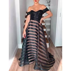 Elegant Black Stripe Sequins Patchwork Off Shoulder Floor-Length Women's Dress