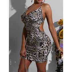Sexy Leopard Print Spaghetti Strap Backless Bodycon Women's Dress