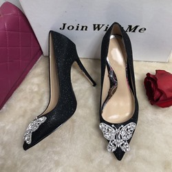 Shoespie Butterfly Rhinestone Sexy Pointed Toe Stiletto Heels