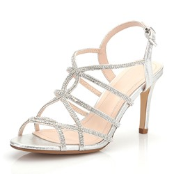 Shoespie Stylish Rhinestone Open Toe Buckle Stiletto Heel Casual Sandals