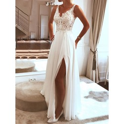 Floor-Length V-Neck Backless Women's Dress