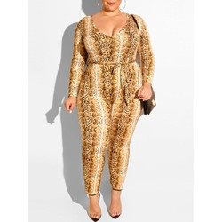 Plus Size Serpentine U-Neck Long Sleeve Pencil Pants Women's Jumpsuit
