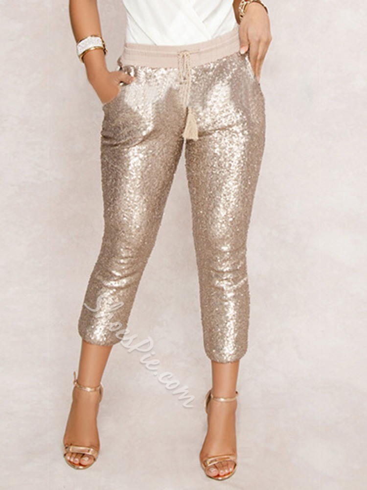 Champagne Slim Sequins Lace-Up Mid-Calf Women's Casual Pants