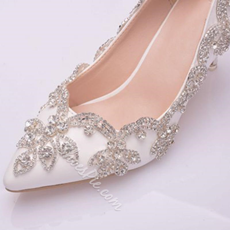 Shoespie Sexy Slip-On Stiletto Heel Pointed Toe Bridal Shoes