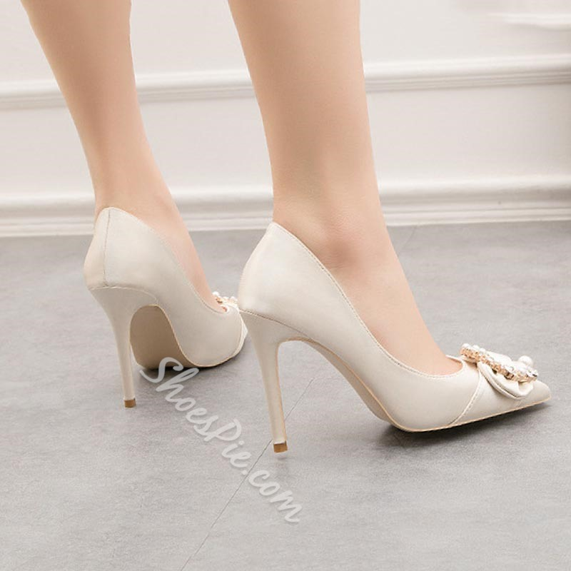Shoespie Sexy Thread Stiletto Heel Slip-On Plain Bridal Shoes