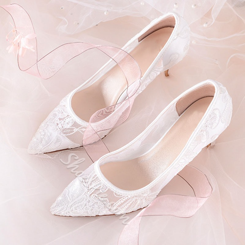 Shoespie Stylish Lace Stiletto Heel Pointed Toe Bridal Shoes