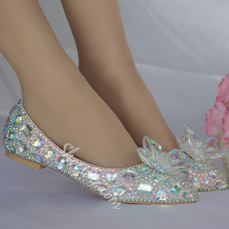 Shoespie Sexy Pointed Toe Slip-On Rhinestone Banquet Bridal Shoes