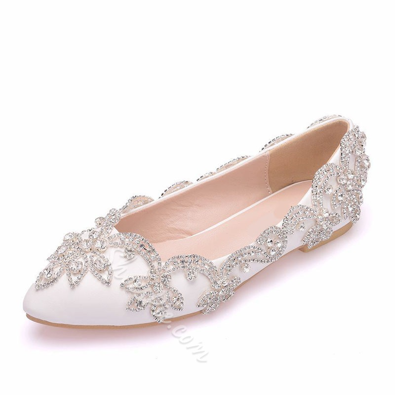 Shoespie Trendy Pointed Toe Rhinestone Slip-On Banquet Thin Shoes