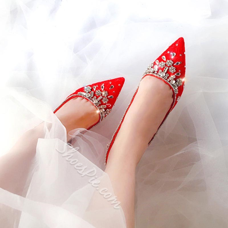 Shoespie Sexy Slip-On Rhinestone Stiletto Heel Wedding Thin Shoes