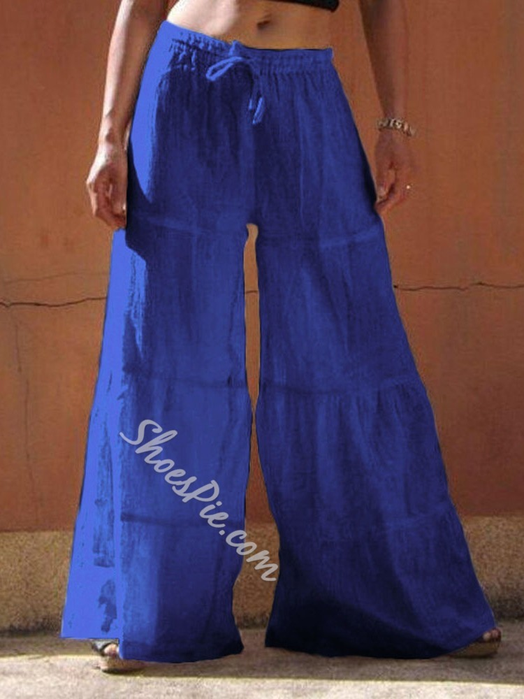 Blue Lace-Up Loose Wide Legs Women's Casual Pants